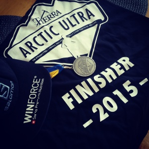 The lovely medal and finisher T-shirt!